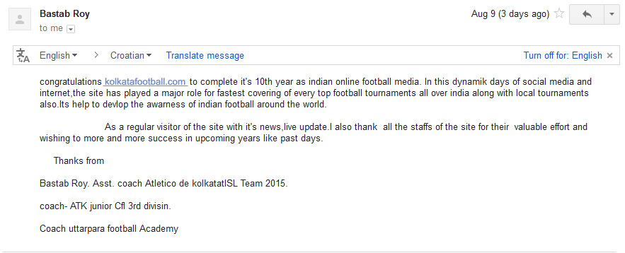 message of ATLETICO DE KOLKATA for 10th year