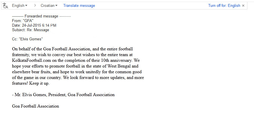 message of GOA FOOTBALL ASOCIATION for 10th year