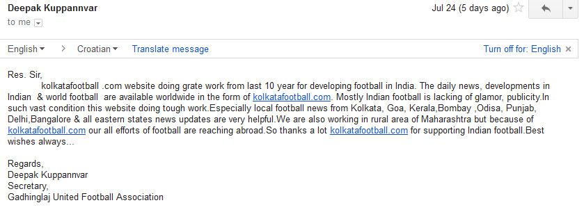 message of KOLHAPUR FC for 10th year