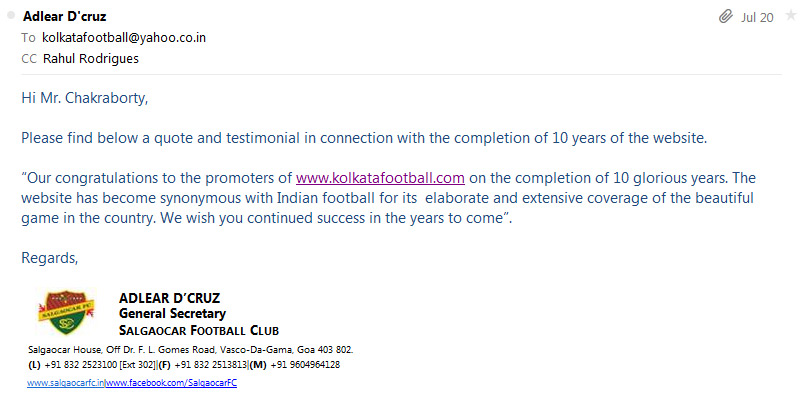 message of SALGAOCAR SC for 10th year