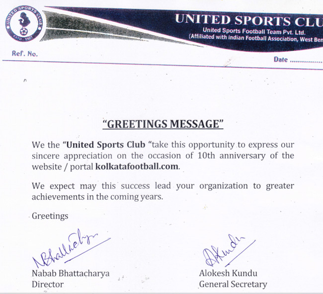 message of UNITED SC for 10th year